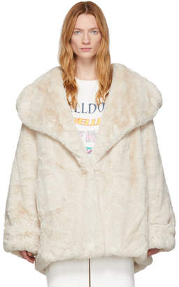 we11done Off-White Faux-Fur Coat