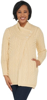 Aran Craft Merino Wool Long Cardigan with Button Collar Closure