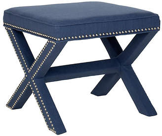 One Kings Lane Palmer Ottoman - Indigo/Silver