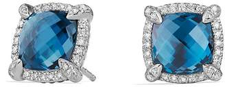 David Yurman Ch'telaine Pavé Bezel Stud Earrings with Hampton Blue Topaz and Diamonds