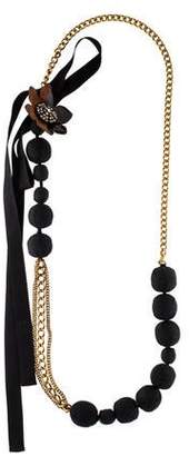 Marni Crystal, Resin & Fabric Necklace