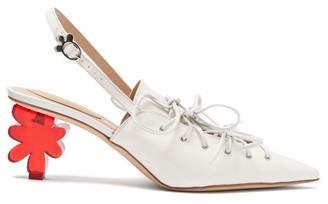 Simone Rocha Flower Heel Leather Slingback Pumps - Womens - White