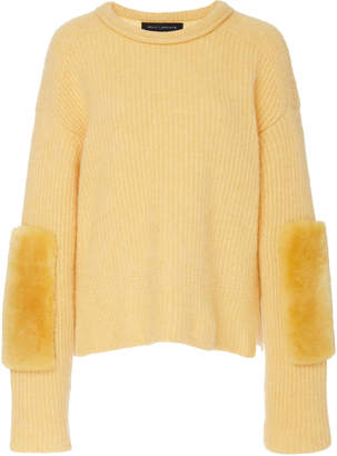 Sally LaPointe Paneled Shearling And Cashmere-Blend Sweater