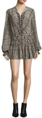 Saint Laurent Leopard-Print Silk Flounce Minidress