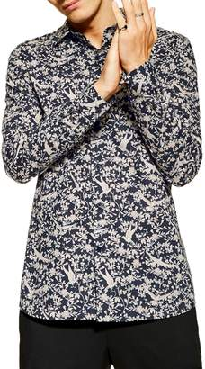 Topman Stretch Fit Floral Bird Print Long Sleeve Sport Shirt
