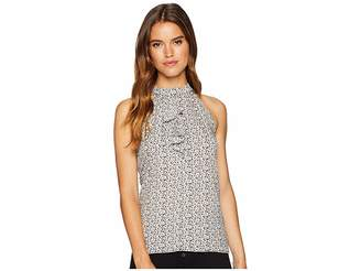 BCBGMAXAZRIA Ruffle Front Halter Top Women's Clothing