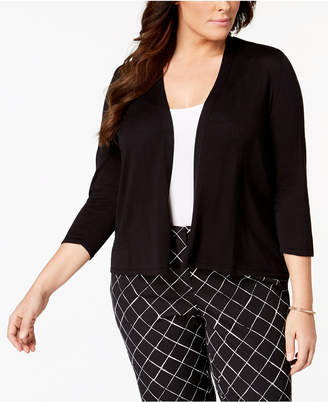 Alfani Plus Size Open-Knit Cardigan, Created for Macy's