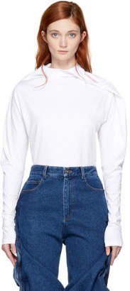 Y/Project White Long Sleeve Fold Over T-Shirt