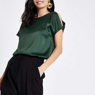 River Island Womens Green asymmetric lace cut out sleeve T-shirt