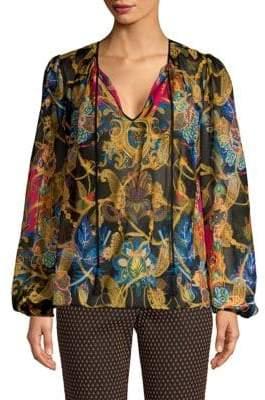 Etro Silk-Blend Lame Printed Top