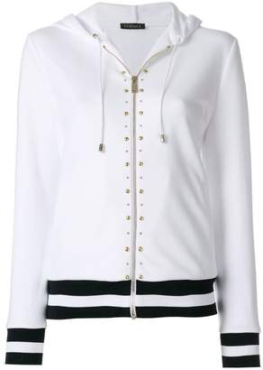 Versace studded stripe detail zipped hoodie