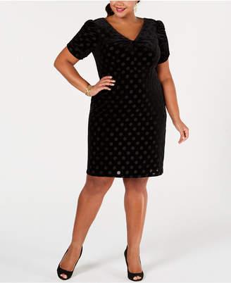 Betsey Johnson Plus Size Dot-Print Sheath Dress