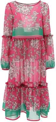 P.A.R.O.S.H. Floral Ruffle Detail Midi Dress