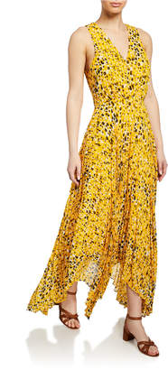 Derek Lam 10 Crosby Sleeveless V-Neck Printed Dress w/ Pleated Skirt