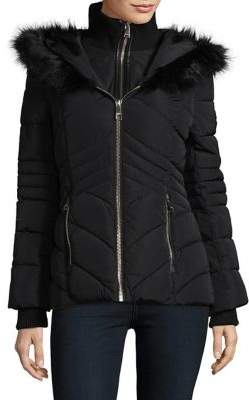 GUESS Faux Fur Trim Puffer Jacket