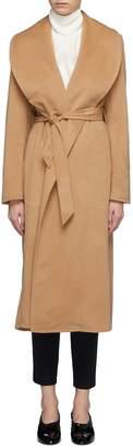 Alex Eagle Shawl lapel belted baby camel hair melton wrap coat