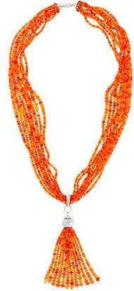 Tiffany & Co. Platinum Diamond & Fire Opal Torsade Necklace