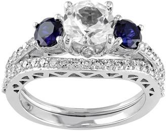 Stella Grace 10k White Gold Lab-Created White & Blue Sapphire & 1/3 Carat T.W. Diamond Engagement Ring Set
