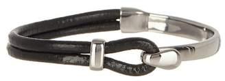 Jean Claude Half Stainless Steel & Genuine Leather Bracelet