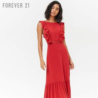 Forever 21 (フォーエバー 21) - Forever 21 クロシェフラウンスマキシワンピース