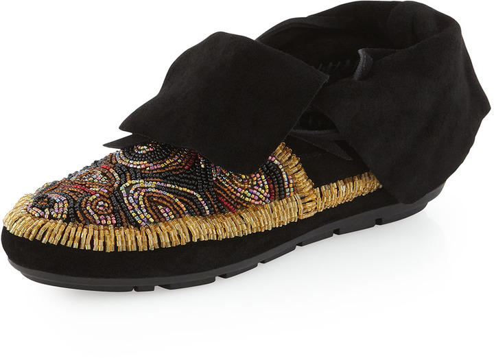 House Of Harlow Mallory Beaded Moccasin Bootie, Black