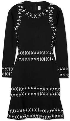 MICHAEL Michael Kors Stud-embellished Stretch-knit Mini Dress - Black