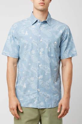 Faherty Map Print Woven Button Down Shirt