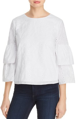AQUA Embroidered Eyelet Tiered Sleeve Top - 100% Exclusive $88 thestylecure.com