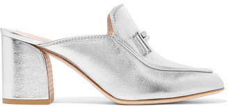 Tod's Metallic Leather Mules - Silver