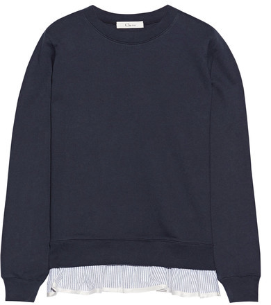 Clu CLU - Ruffle-trimmed French Cotton-terry Sweatshirt - Navy