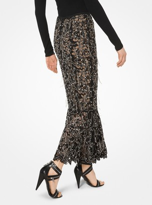 Michael Kors Embroidered Floral Guipure Trumpet Skirt