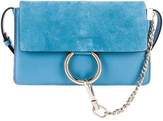 Chloé Small Faye Suede & Calfskin Shoulder Bag in Tomboy Blue | FWRD