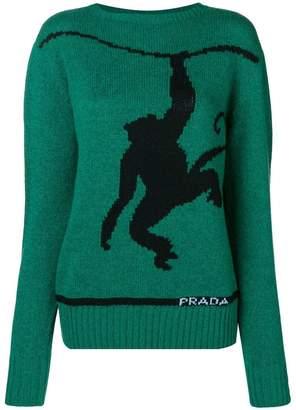 Prada monkey print wool jumper