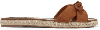 Tabitha Simmons Heli Bow-embellished Suede Espadrille Slides - Tan