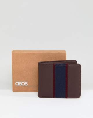 Asos Wallet In Brown With Navy Stripe Panel