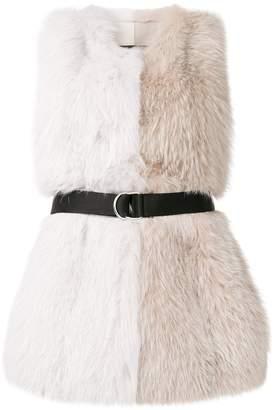 Blancha belted colour block fur vest