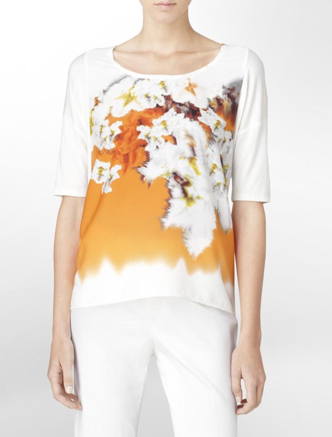 Calvin Klein Printed Mixed Fabric Short Sleeve Top