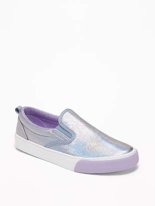 Old Navy Holographic Faux-Leather Slip-Ons for Girls