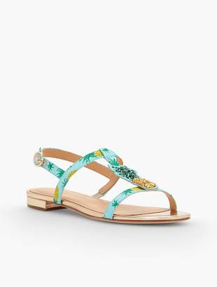 Talbots Keri T-Strap Sandals - Pineapple Faille