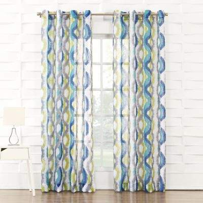 No.918 Caspian 63-Inch Grommet Top Window Curtain Panel in Royal Blue