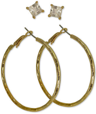 bb94b1118 GUESS Gold-Tone 2-Pc. Set Cubic Zirconia Stud & Hammered Hoop Earrings