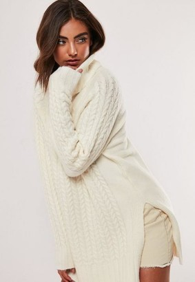 Missguided White Turtle Neck Side Split Cable Knit Sweater