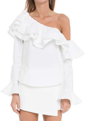 Endless Rose Ruffled One-Shoulder Long-Sleeve Cotton Poplin Top