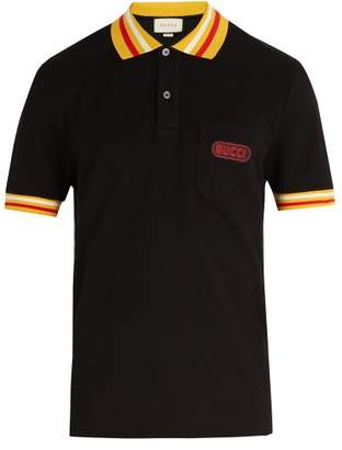Gucci - Striped Collar Cotton Blend Polo Shirt - Mens - Black