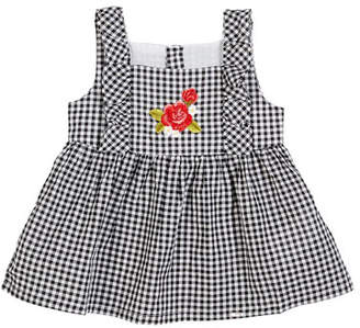 Mayoral Gingham Sun Top w/ Embroidered Rose, Size 12-36 Months