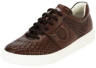 Salvatore Ferragamo Men's Woven Leather Low-Top Sneaker, Medium Brown