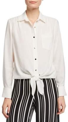 Trina Turk Helinda Button-Front Long-Sleeve Birdseye Blouse w/ Self-Tie Hem