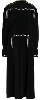 Sonia Rykiel Fringe-Trimmed Button-Embellished Cotton Midi Dress