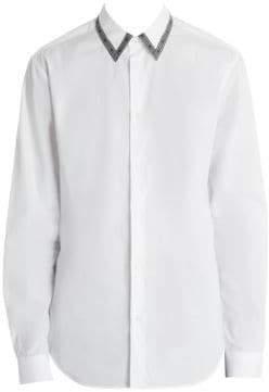 Versace Logo Trim Cotton Shirt