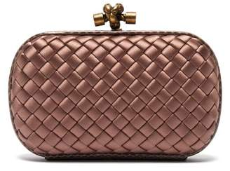 ec71df03b6 at MATCHESFASHION.COM · Bottega Veneta Knot Satin And Watersnake Clutch -  Womens - Dark Pink